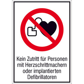 Verbots-Kombischild Kein Zutritt für Personen mit Herzschrittmachern oder