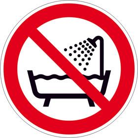 Verbotsschild Verbot dieses Gerät in der Badewanne, Dusche ... zu benutzen