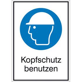 Gebots-Kombischild Kopfschutz benutzen