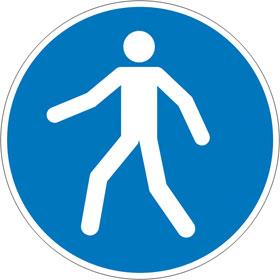 Gebotsschild Fußgängerweg benutzen