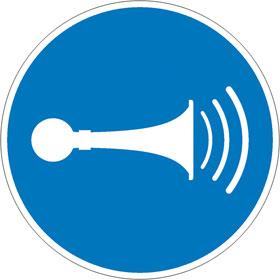 Gebotsschild Akustisches Signal geben