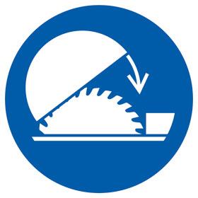 Gebotsschild Schutzhaube für Tischkreissäge benutzen