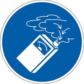 Gebotsschild Gasdetektor benutzen