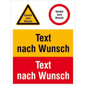Warn-Verbots-Gebots-Kombischild mit max. 2 Sicherheitszeichen + 2 Texten nach Wahl