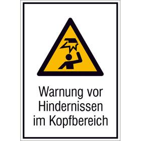 Warn-Kombischild Warnung vor Hindernissen im Kopfbereich