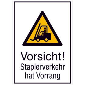 Warn-Kombischild Vorsicht! Staplerverkehr hat Vorrang