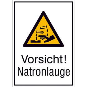 Warn-Kombischild Vorsicht! Natronlauge
