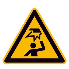 Warnschild Warnung vor Hindernissen im Kopfbereich
