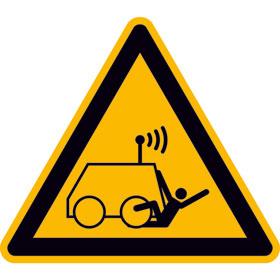 Warnschild Warnung vor Überrollen durch ferngesteuerte Maschine