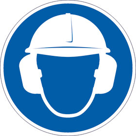 Gebotsschild Gehör- und Kopfschutz benutzen
