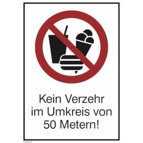 Hinweisschild - Verzehrverbot (rechteckig, weiss) Kein Verzehr im Umkreis von 50 Metern