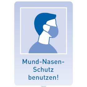 Hinweisschild - Maskenpflicht (rechteckig, blau) Mund-Nasen-Schutz benutzen!