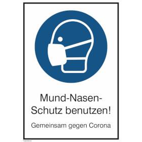 Hinweisschild - Maskenpflicht (rechteckig, weiss) Mund-Nasen-Schutz benutzen!