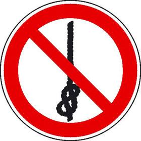 Verbotsschild auf Bogen Knoten von Seilen verboten