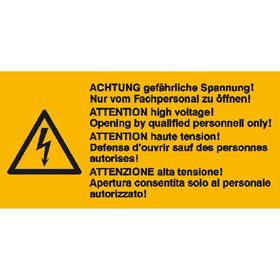 Warn-Kombischild auf Bogen Achtung gefährliche Spannung! Nur von Fachpersonal zu öffnen