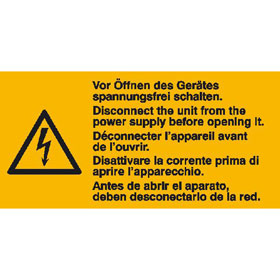 Warn-Kombischild auf Bogen Vor Öffnen des Gerätes spannungsfrei schalten