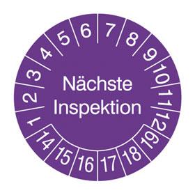 Pr�fplaketten - N�chste Inspektion in Jahresfarbe