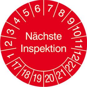 Prüfplakette in Jahresfarbe Nächste Inspektion