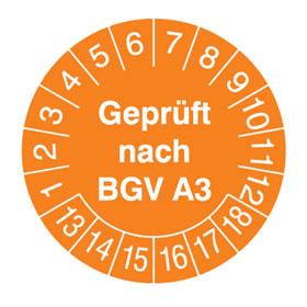Prüfplakette BGV A3