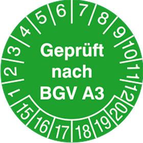 Pr�fplaketten - Gepr�ft nach BGV A3 in verschiedenen Versionen in Jahresfarbe,