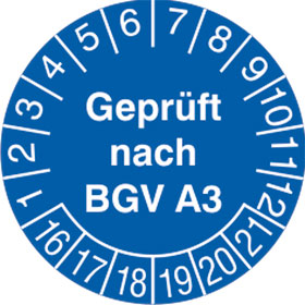 Prüfplakette Geprüft nach BGV A3