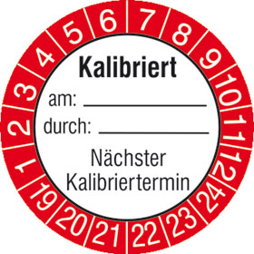 Prüfplakette Kalibriert am: durch:, Nächster Kalibriertermin