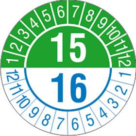 Pr�fplaketten zwei Jahre / 2-stellige Jahreszahl in Jahresfarbe