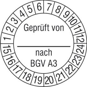 Pr�fplaketten - Gepr�ft von_ nach BGV A3 wei�/schwarz