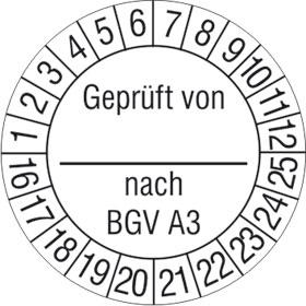 Pr�fplakette Gepr�ft von_ nach BGV A3