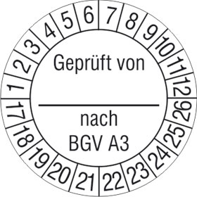 Prüfplakette Geprüft von_ nach BGV A3
