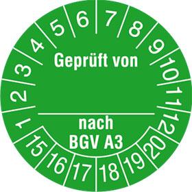 Pr�fplaketten - Gepr�ft von...nach BGV A3 in Jahresfarbe