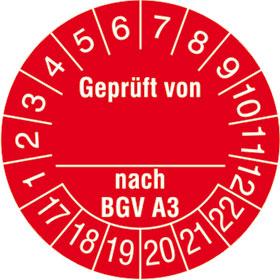Prüfplakette Geprüft von...nach BGV A3