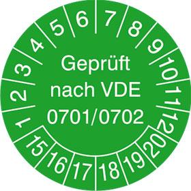 Pr�fplaketten - Gepr�ft nach VDE 0701/0702 in Jahresfarbe