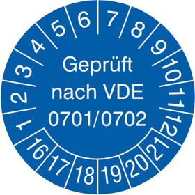 Pr�fplakette Gepr�ft nach VDE 0701/0702