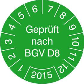 Pr�fplaketten - Gepr�ft nach BGV D8 in Jahresfarbe
