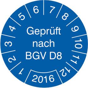 Pr�fplakette Gepr�ft nach BGV D8