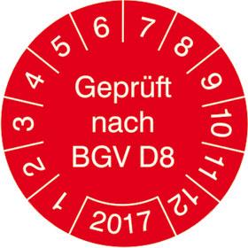 Prüfplakette Geprüft nach BGV D8
