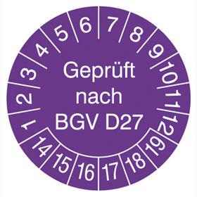 Pr�fplaketten - Gepr�ft nach BGV D27 in Jahresfarbe