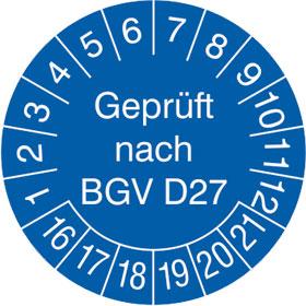 Pr�fplakette Gepr�ft nach BGV D27