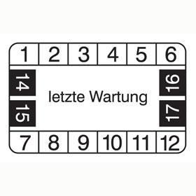 Pr�fplaketten - letzte Wartung wei�/schwarz