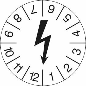 Prüfplakette Symbol: schwarzer Blitz