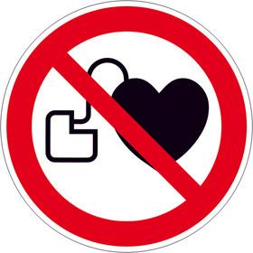 Verbotsschild Kein Zutritt für Personen mit Herzschrittmachern oder