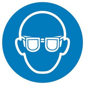Gebotsschild auf Bogen Augenschutz benutzen