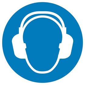 Gebotsschild auf Bogen Gehörschutz benutzen