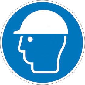 Gebotsschild auf Bogen Kopfschutz benutzen