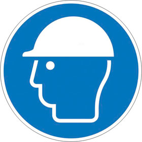 Gebotsschild Kopfschutz benutzen
