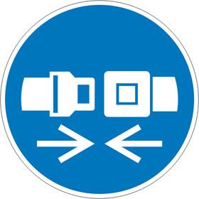 Gebotsschild auf Bogen Rückhaltesystem benutzen