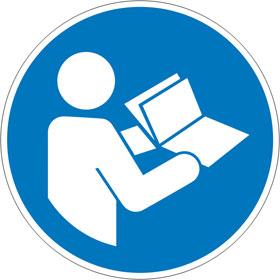 Gebotsschild auf Bogen Anleitung beachten
