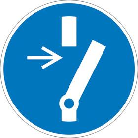 Gebotsschild auf Bogen Vor Wartung oder Reparatur freischalten
