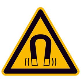Warnschild auf Bogen Warnung vor magnetischem Feld